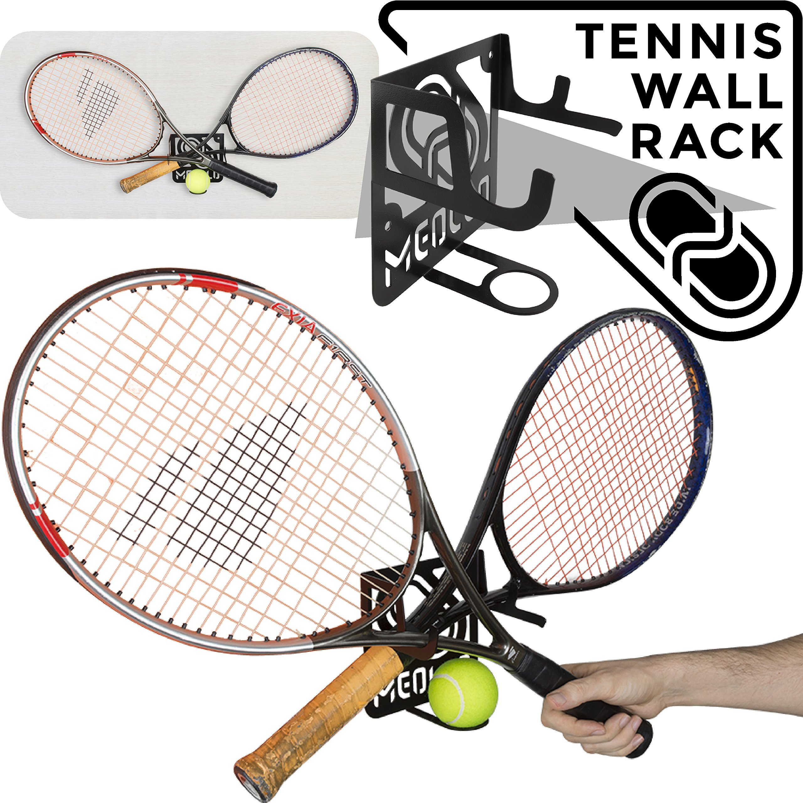 MEOLLO Tennis Racket Storage Rack Wall Mount (100% Steel)