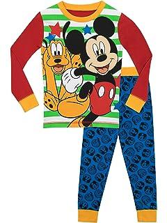 3ba423c5dd Disney Jungen Mickey Mouse und Pluto Schlafanzug - Slim Fit - 104