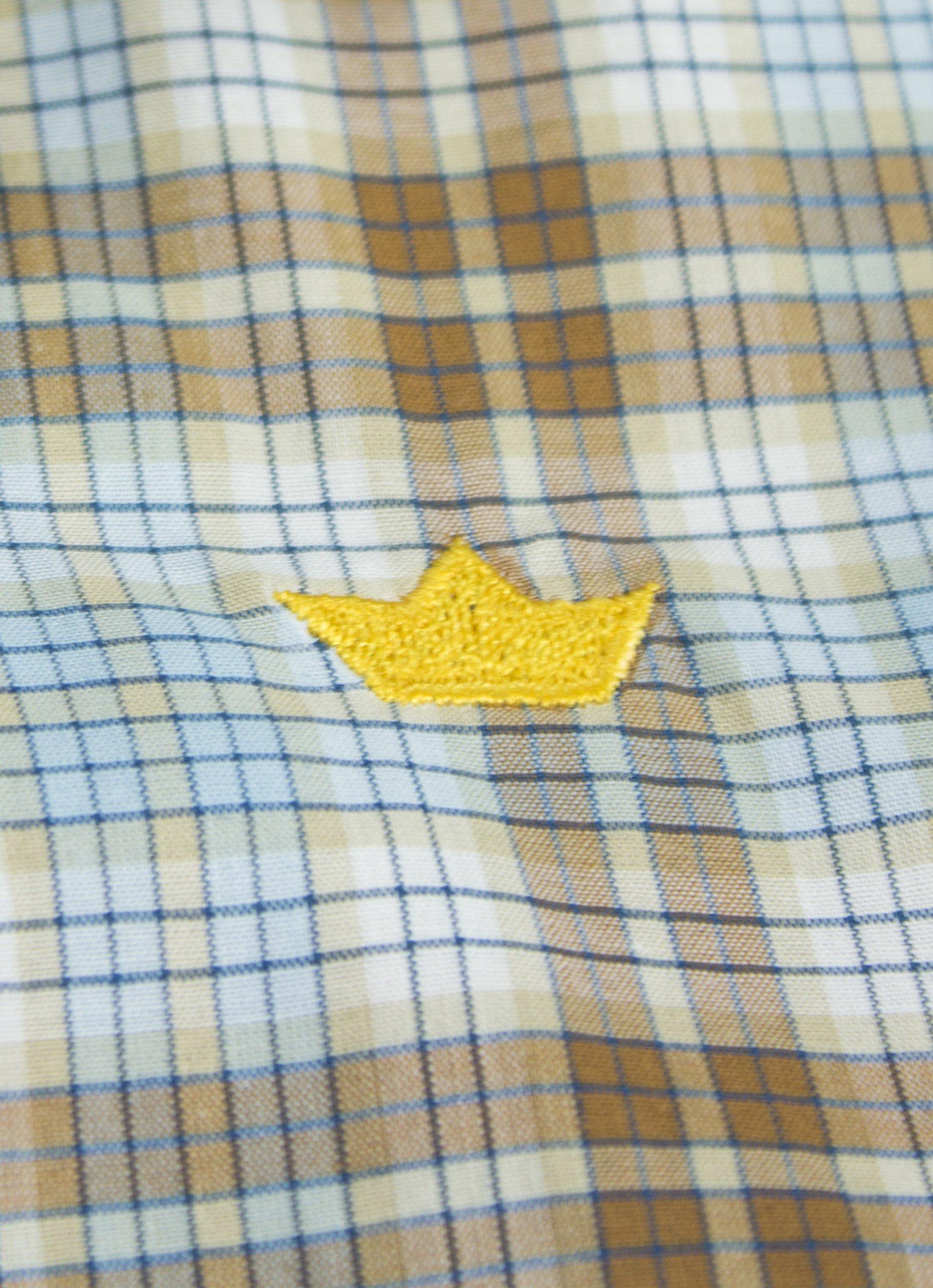 Dakomoda Toddler Boys' Short Sleeve Easter Shirt Brown Plaid Check 100% Pima Cotton Dress Shirt 3T by Dakomoda (Image #3)