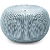 Keter Knit Indoor/Outdoor Large Ottoman Poof Pod Seat Bench - Misty Blue