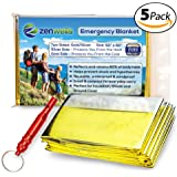 Emergency Mylar Thermal Blankets Double-Sided Gold/Silver (5-Pack) Plus Bonus Survival Whistle, Best for Outdoor, Camping, Hiking, Survivalist, Shelters, Hunting, First Aid Kit