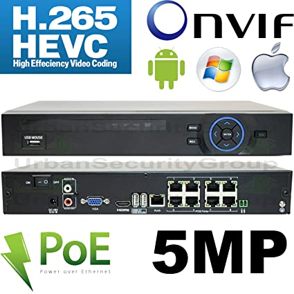 Amazon com : USG 5MP H 265 Ultra 4k IP Security Recorder NVR with 8X