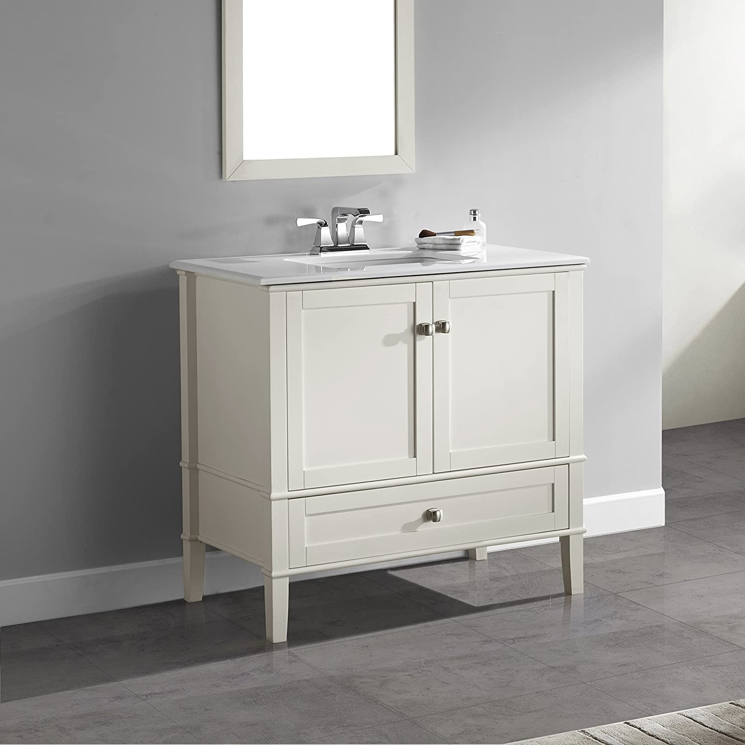 "Simpli Home Chelsea 36"" Bath Vanity with White Quartz Marble Top"