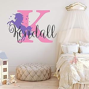 Nursery Unicorn Name and Initial Custom Wall Decal Sticker, Girl Wall Decal, Girls Name, Decor, Personalized, Girls Name Decor, Girls Nursery, Plus Free White Hello Door Decal (XL)