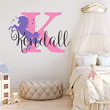 Name Personalised  Wall Decor Kids Baby Girls  Bedroom Wall Stickers Unicorn