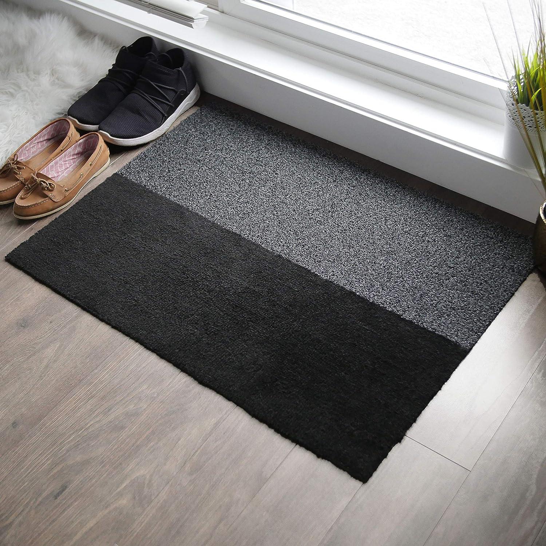 2-in-1 Indoor Outdoor Welcome Mat - Half Absorbent Entryway Rug, Half Shoe Scraper Doormat - Front Door Mats Outside or Inside Use, Anti Slip - Large (24 x 34 inches)