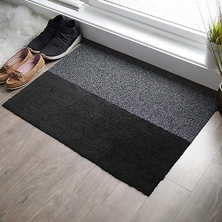 Amazon Com 2 In 1 Indoor Outdoor Welcome Mat Half Absorbent Entryway Rug Half Shoe Scraper Doormat Front Door Mats Outside Or Inside Use Anti Slip Large 24 X 34 Inches Kitchen Dining