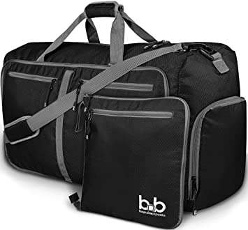 da115ca691f4 Medium Gym Duffle Bag with Pockets 60L - Foldable Lightweight Travel Bag  for Women and Men