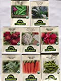 CERTIFIED ORGANIC NON-GMO PREMIUM WINTER VEGETABLE GARDEN SEED COLLECTION. Heirloom seeds USDA Lab tested. Broccoli, Beet, Carrot, Cauliflower, Fava Bean, Kale, Pea, Radish. Gardener & chef favorites!