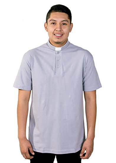eaf572db7a Mercy Robes Mens Clergy Polo Short Sleeves TAB Shirt (Light Grey) at Amazon  Men s Clothing store