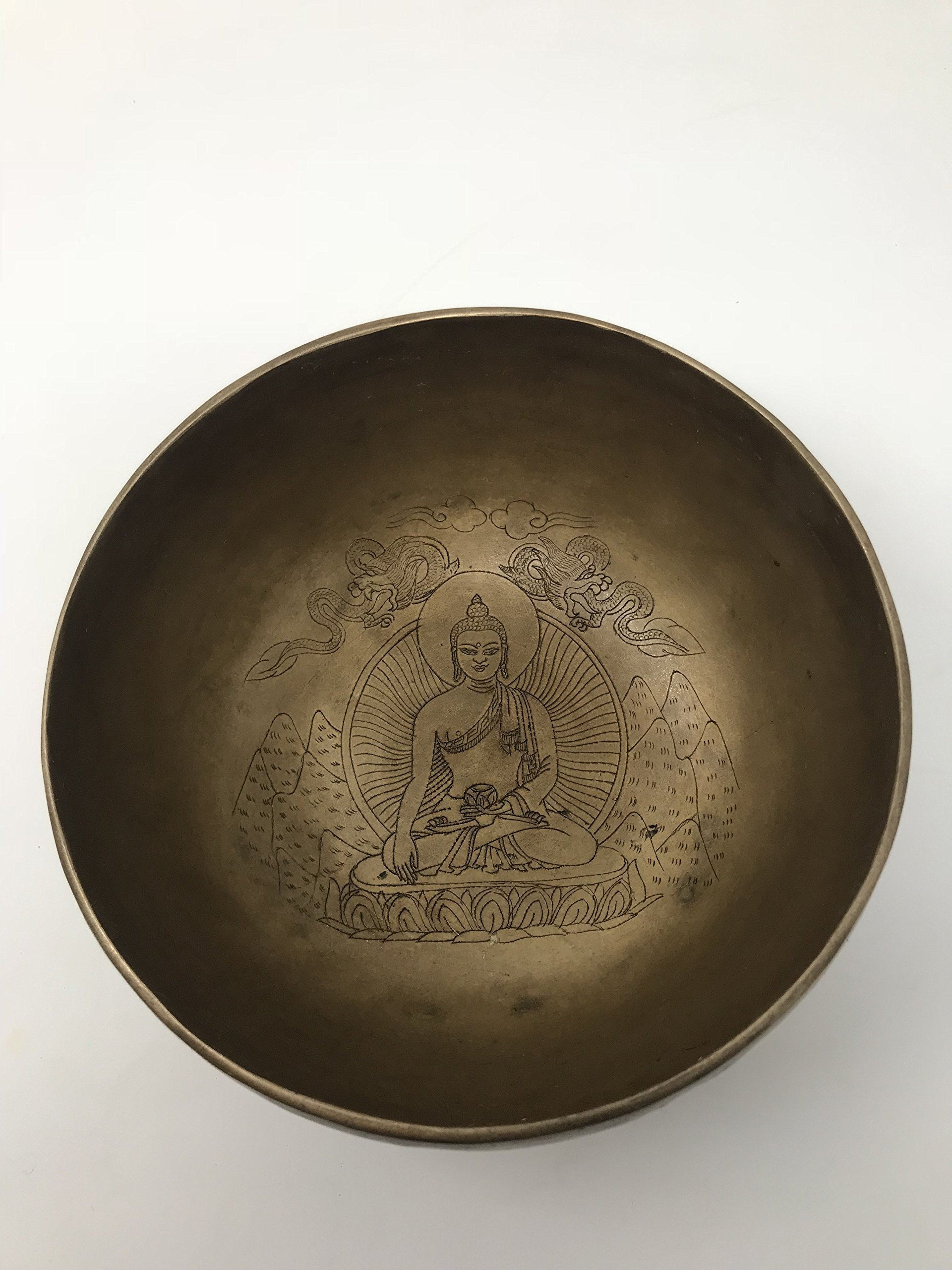 Buddha Tibetan Meditation Hand Hammered Singing Bowl. ~ Nepalese crafsmanship - Hills, Dragons, Halo, Buddha by Nepal Soul