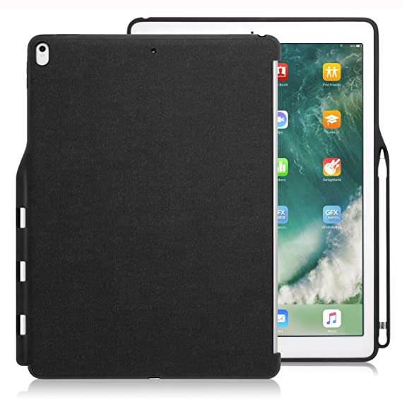 uk availability 322e1 28764 LUVVITT iPad Pro 12.9 Case (Compatible with 2015 and 2017 Version) Back  Cover with Pencil Holder Compatible with Smart Keyboard and Apple Smart  Cover ...
