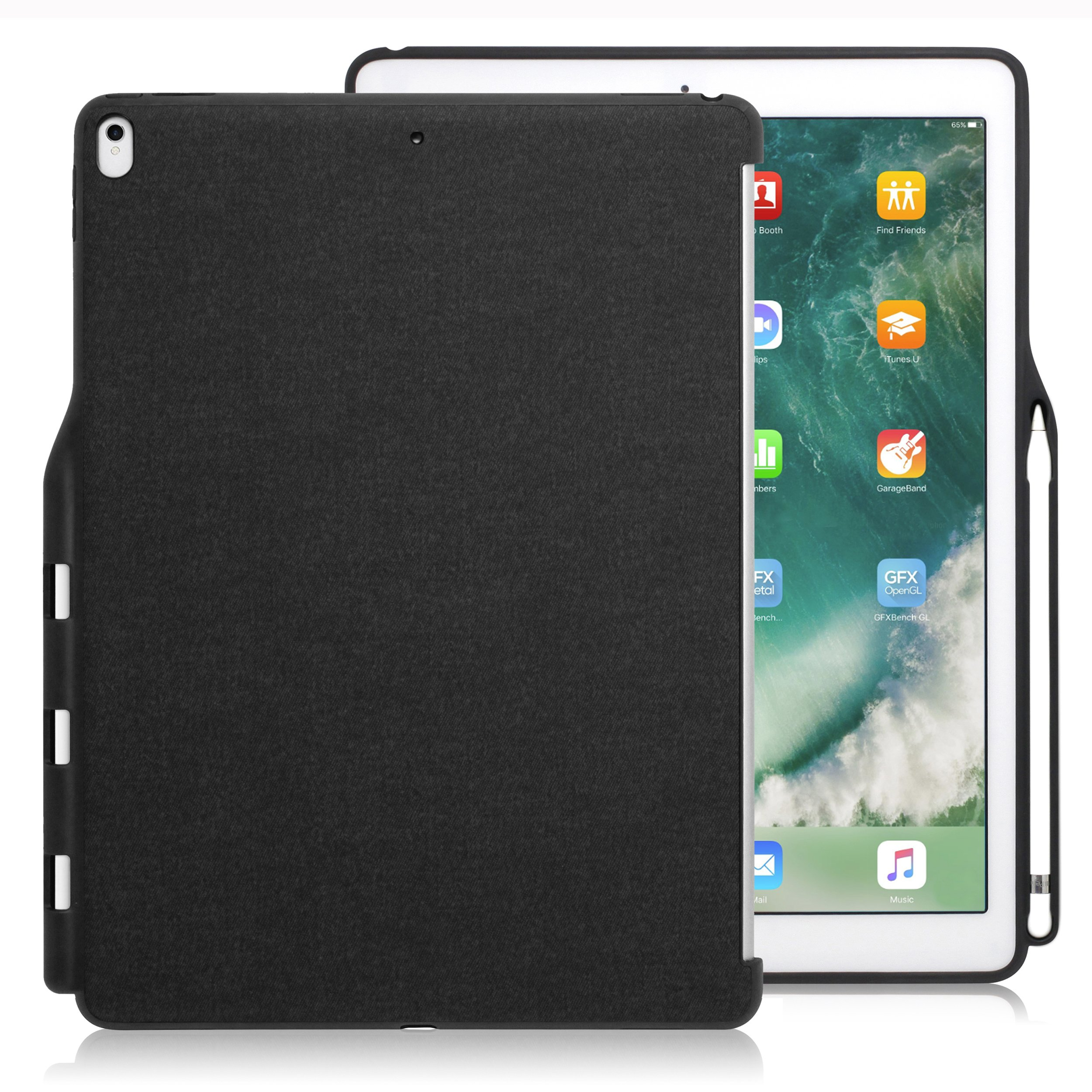 LUVVITT iPad Pro 12.9 Case (Compatible with 2015 and 2017 Version) Back Cover with Pencil Holder Compatible with Smart Keyboard and Apple Smart Cover - Heather Black by Luvvitt