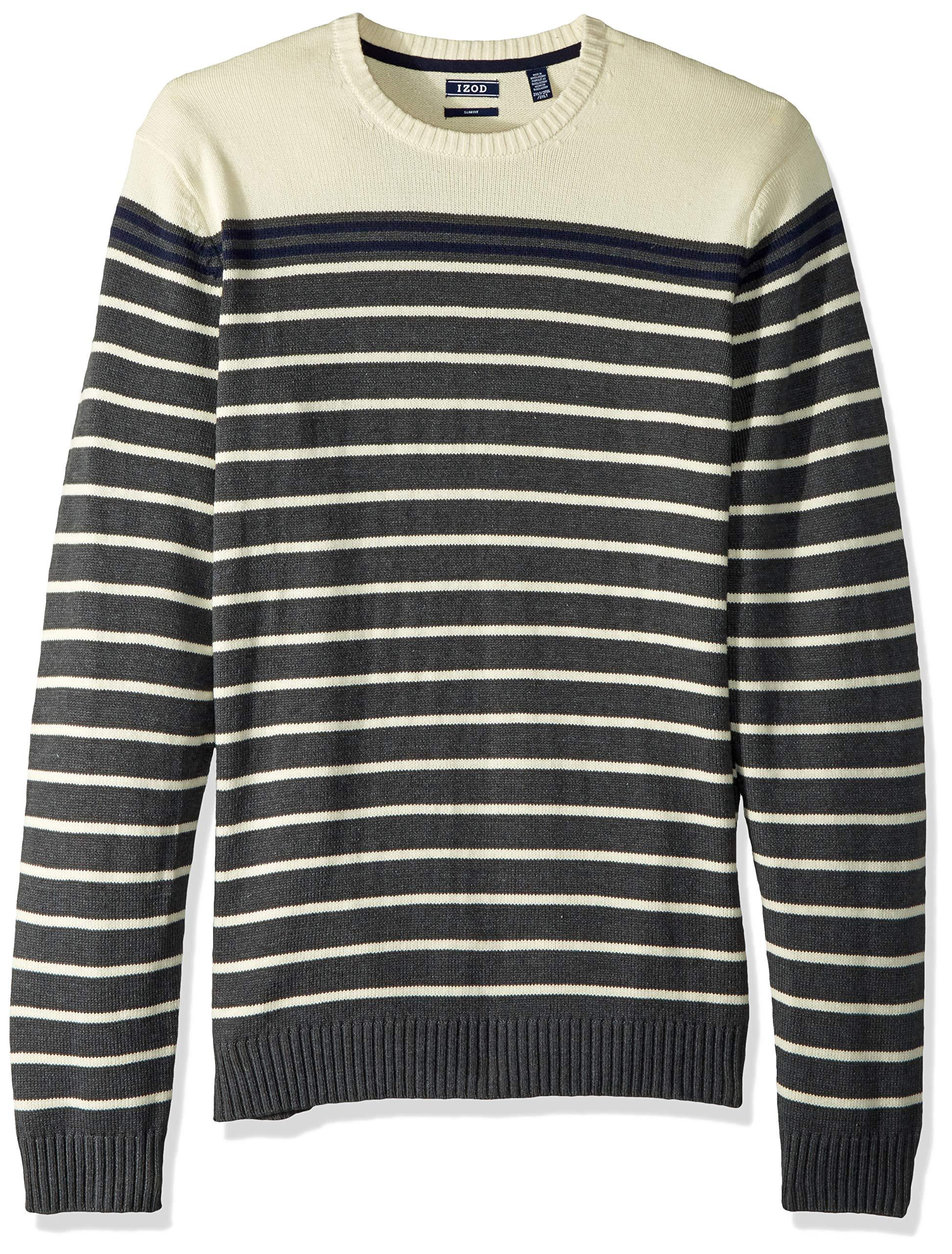 IZOD Men's Big Slim Fit Stripe 7 Gauge Crewneck Sweater, Asphalt, Large Tall