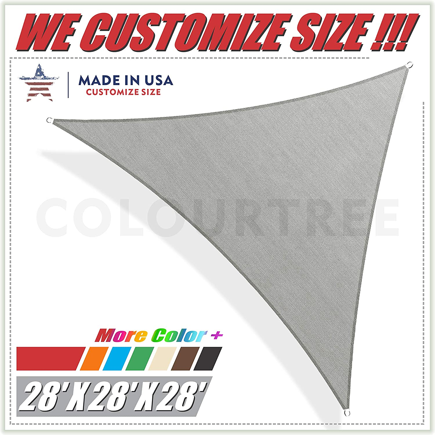 ColourTree 28 x 28 x 28 Grey Sun Shade Sail Triangle Canopy Awning Shelter Fabric Cloth Screen – UV Block UV Resistant Heavy Duty Commercial Grade – Outdoor Patio Carport – We Make Custom Size