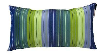 Buy Sunbrella Striped Lumbar Pillow 20x10 Indoor Outdoor Seville