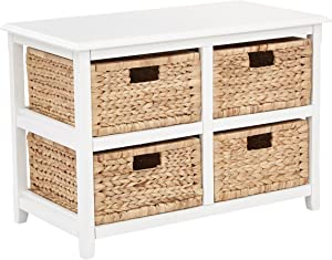 OSP Home Furnishings Seabrook 2-Tier, 4-Drawer Storage Unit with Natural Baskets, White Finish