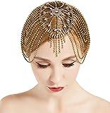 BABEYOND Vintage Style Roaring 20s Crystal Rhinestone Flapper Cap Headpiece Head Jewelry Chains