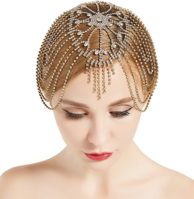 1920s Headband, Headpiece & Hair Accessory Styles ArtiDeco 1920s Crystal Rhinestone Flapper Cap Headpiece Flapper Costumr Accessory Vintage Headpiece Jewelry Chains £14.99 AT vintagedancer.com