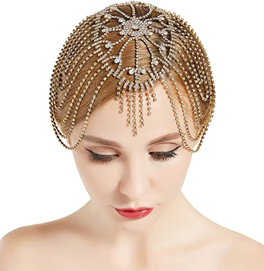 1920s Hairstyles History- Long Hair to Bobbed Hair  20s Crystal Rhinestone Flapper Cap Headpiece (Gold) BABEYOND Vintage Style Roaring $16.99 AT vintagedancer.com