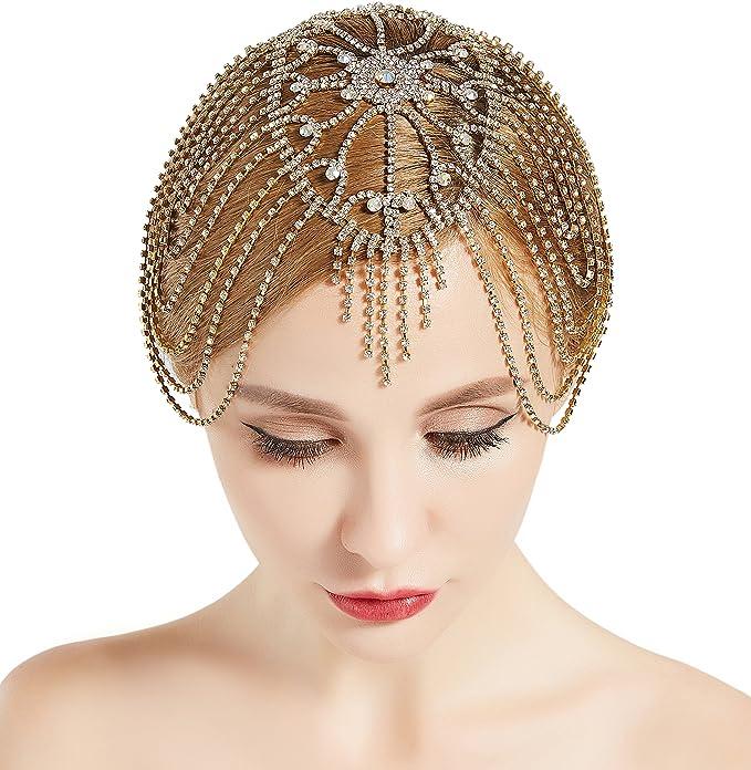 Vintage  Crystal Headpieces Fringe 20s Headbands Fascinator Cocktail