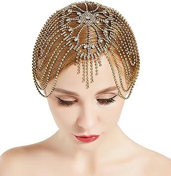 Amazon.com   BABEYOND Vintage Style Roaring 20s Crystal Rhinestone Flapper  Cap Headpiece (Gold)   Beauty 508467750e26