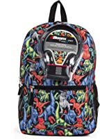 Dinosaur All Over Print 17 Inch Backpack with Headphones