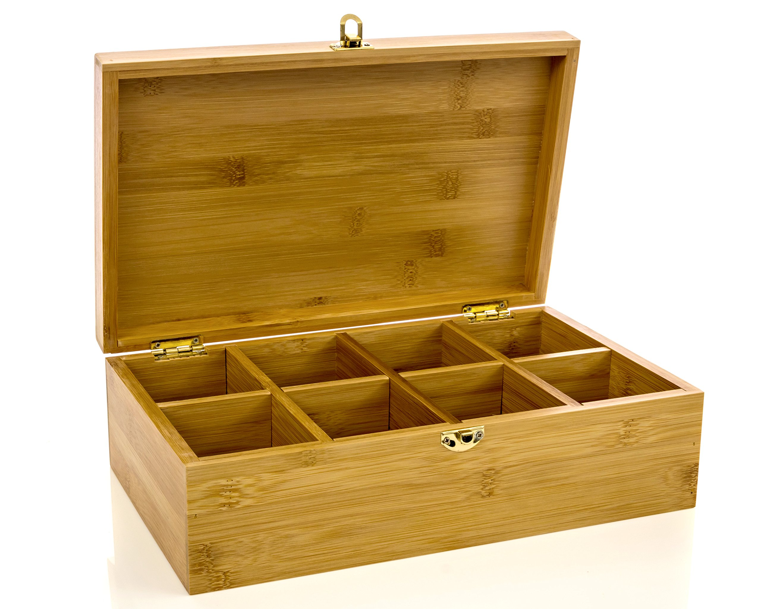 Tea Box , Tea Storage, Tea Holder with Bamboo Lid 8 Compartment with Stylish Lock Multipurpose Storage By Intriom Bamboo Collection