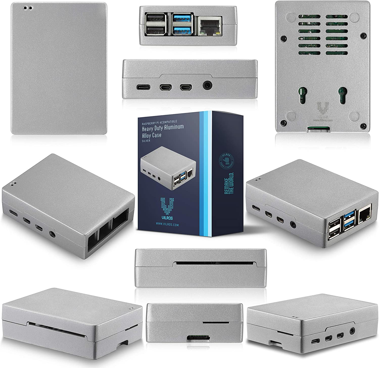 Complete Starter Kit with Heavy-Duty Self Cooling Aluminum Alloy Case Vilros Raspberry Pi 4-2GB RAM