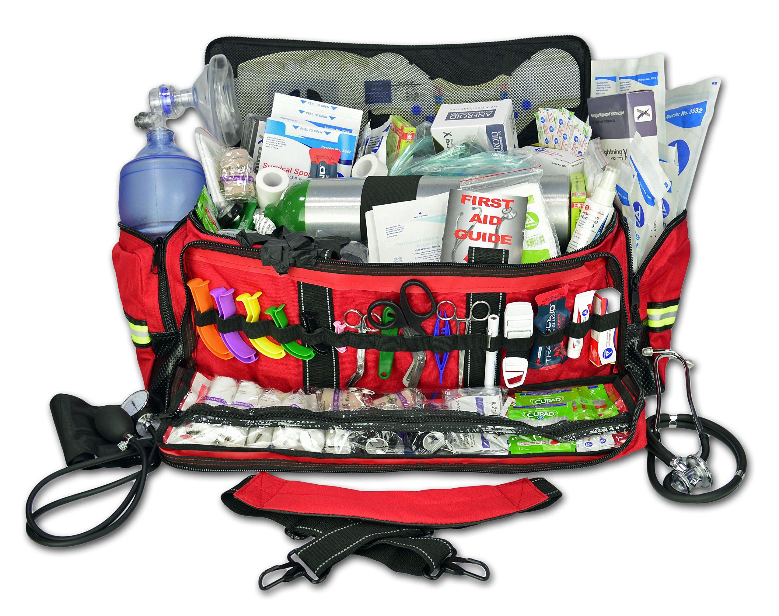 Lightning X Jumbo Oxygen Medic First Responder EMT/EMS Bag Stocked Trauma Kit LXMB50-SKD (Red) by Lightning X Products