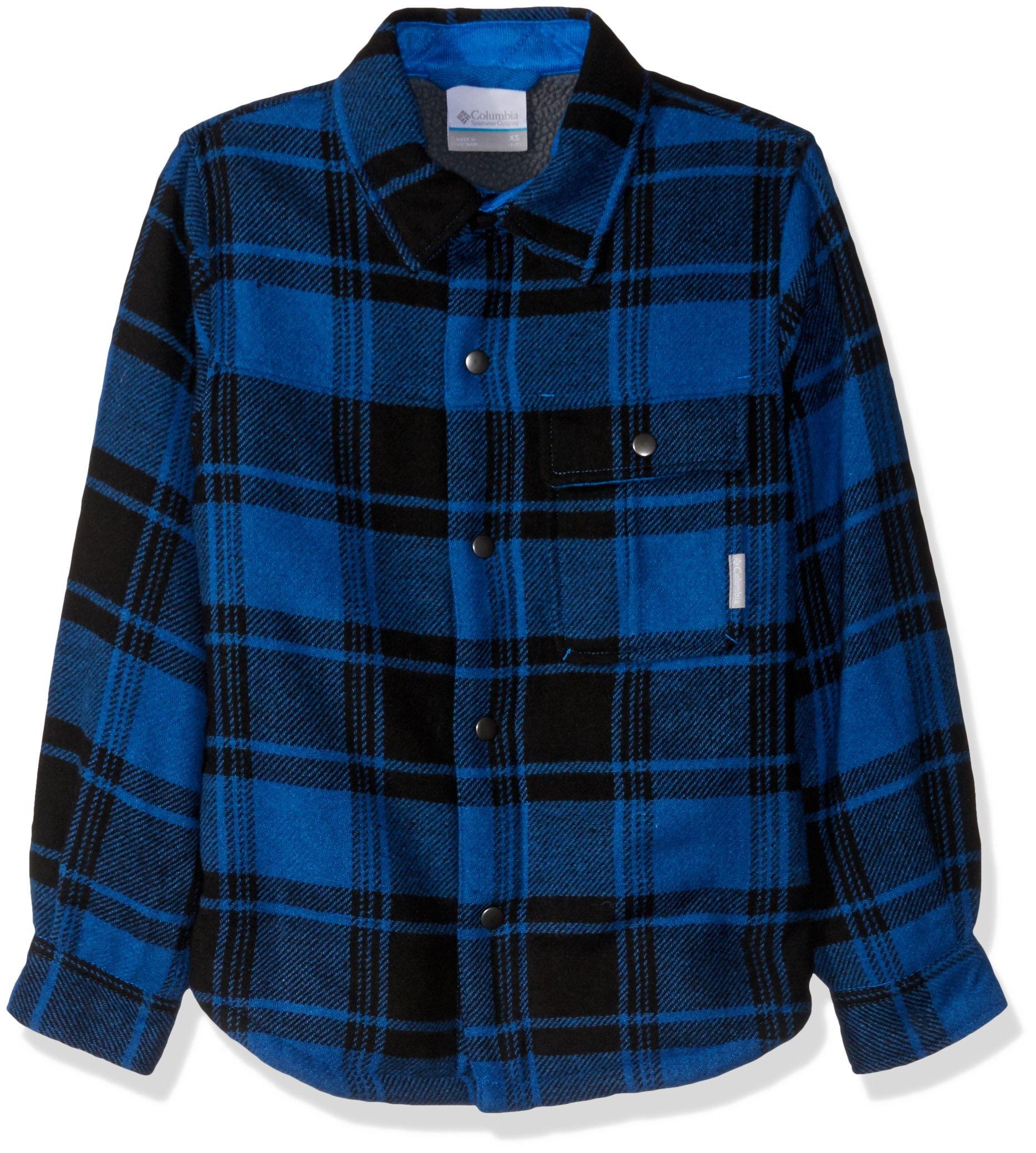 Columbia Boys' Big Windward Sherpa-LinedShirt Jacket, Super Blue Plaid - Past Season, Large by Columbia