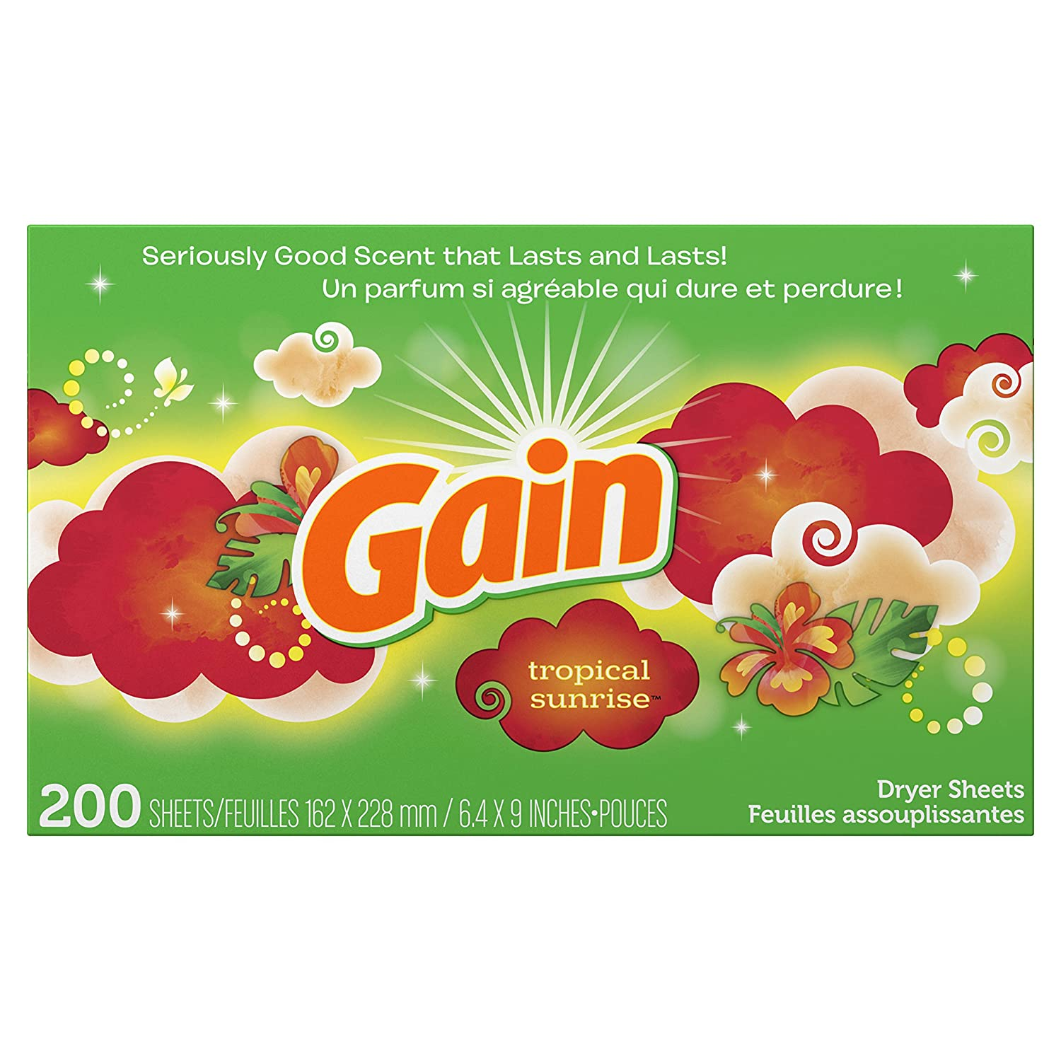 GAIN Dryer Sheets, Tropical Sunrise, 200Count