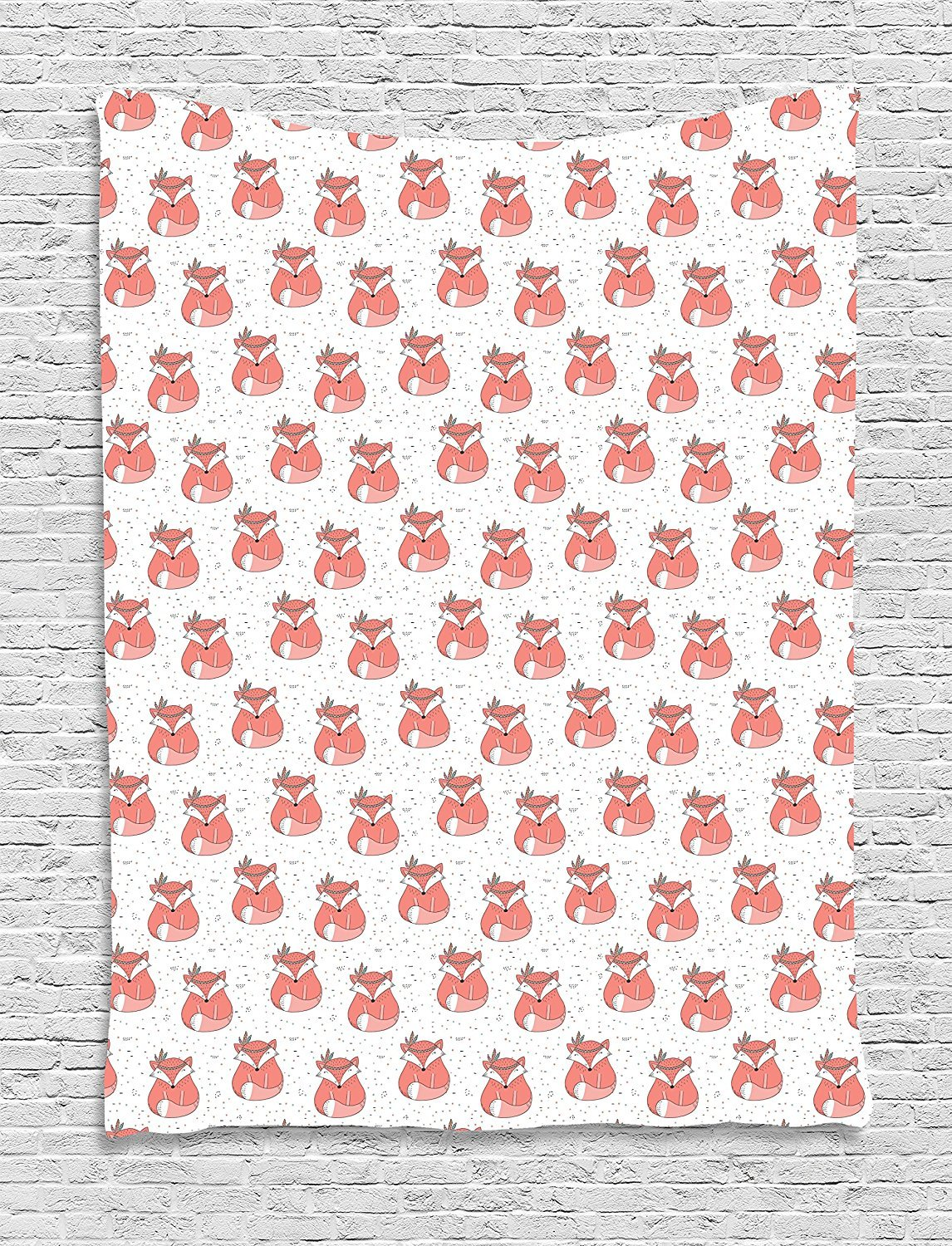 Fox Tapestry, Ethnic Inspirations in Hand Drawn Forest Animal Pattern with Dotted Background, Wall Hanging for Bedroom Living Room Dorm, 60 W X 80 L Inches, Coral Seafoam Black
