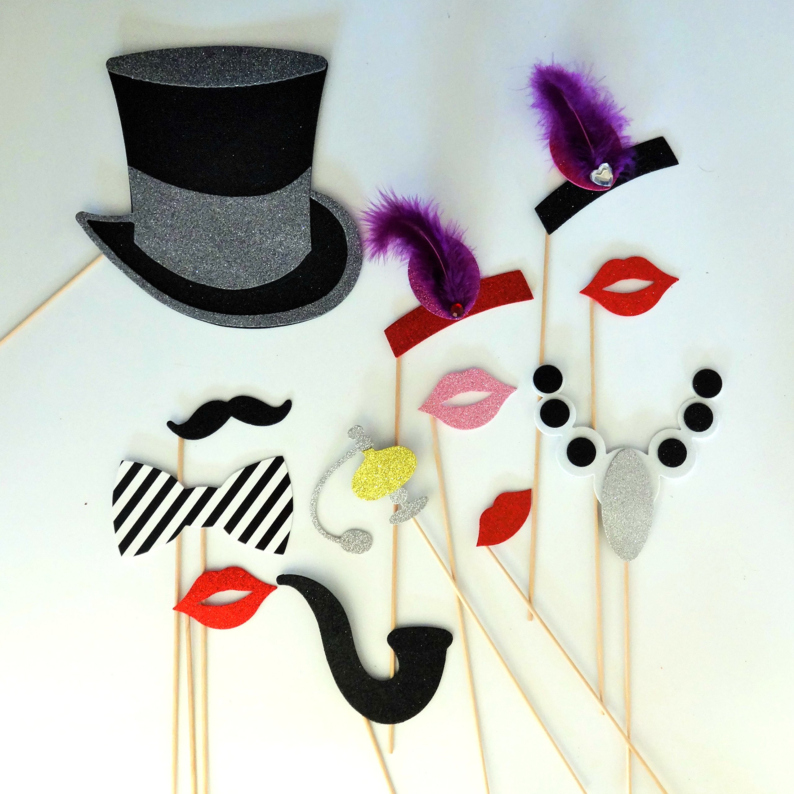 1920 Inspired Great Gatsby Photo Booth Party Props Mustache on a Stick Wedding Photo booth Props Birthdays