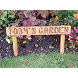 Personalised handmade pre assembled wooden 70mm high oak stained garden sign