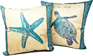 Beach Throw Pillows| Decorative Throw Pillow Covers, 2 Pack 18 x 18 Inch| Coastal Beach Decor Couch Pillows with Starfish & Sea Turtle Theme