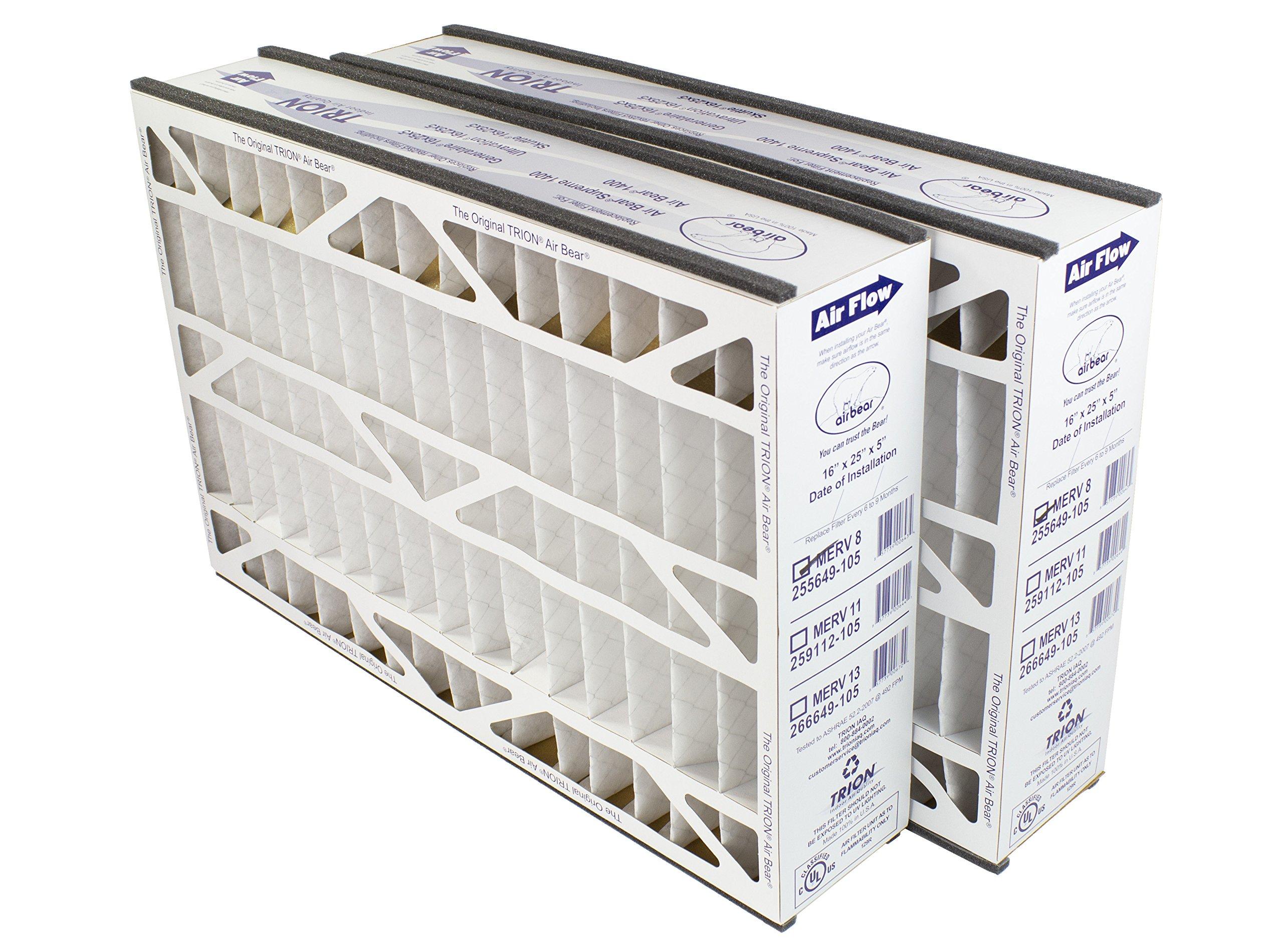 Trion Air Bear 255649-105 (2-Pack) - 16'' x 25'' x 5'' Pleated Air Filter, MERV 8
