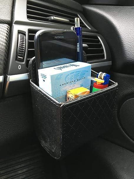 Autotasche Aufbewahrungstasche Bag PU Leder f/ür L/üftungsbefestigung PKW Auto KFZ LKW ideal f/ür Handy M/ünzen einfache Montage Stifte Mehr Platz /& Ordnung /& Stauraum Utensilien