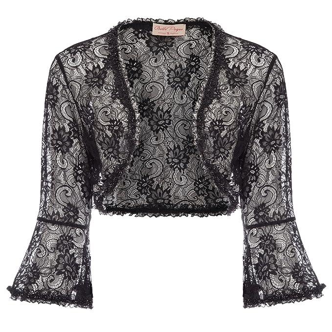 cdff4c44d15ca6 Belle Poque Women's Lace Shrug Jacket Long Sleeve Bridal Cardigan Bolero  (Black ...