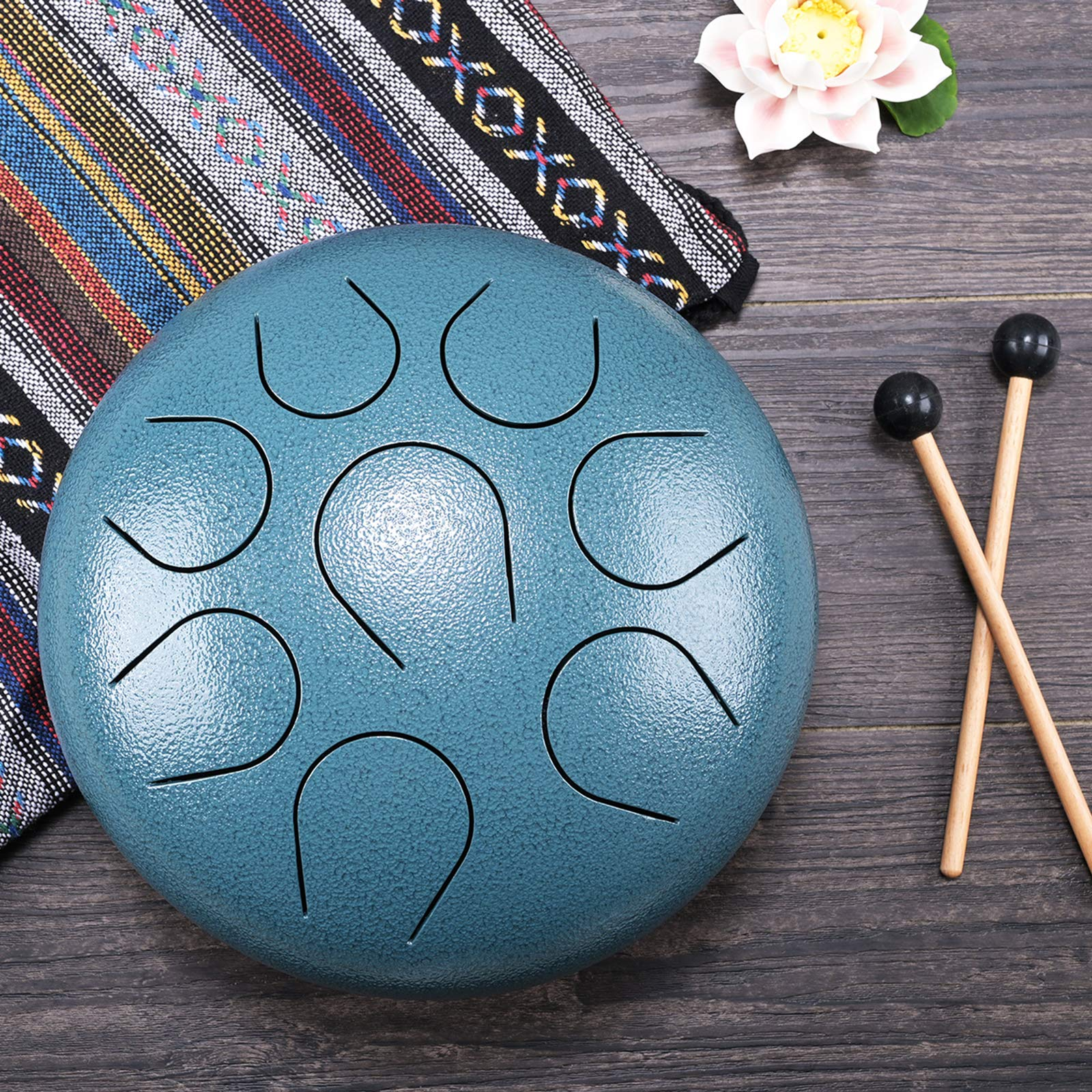 CVNC 8 Inch Dark Blue Textured Color Stainless Steel Tongue Drum Percussion Instrument Free Mallet & Bag Powerful Energy by CVNC