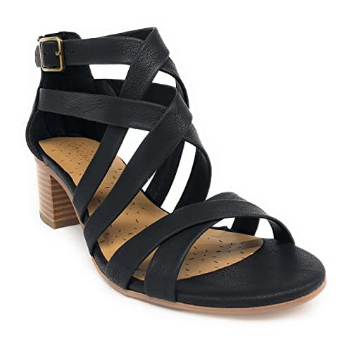 a7ef33ec9095d Image Unavailable. Image not available for. Color: City Classified Women's  Closed Toe Ankle Strap Block Textured Heel ...