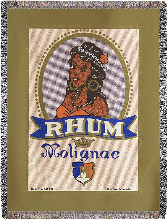 Rhum molignac etiqueta de Ron (60 x 80 manta de chenilla ...