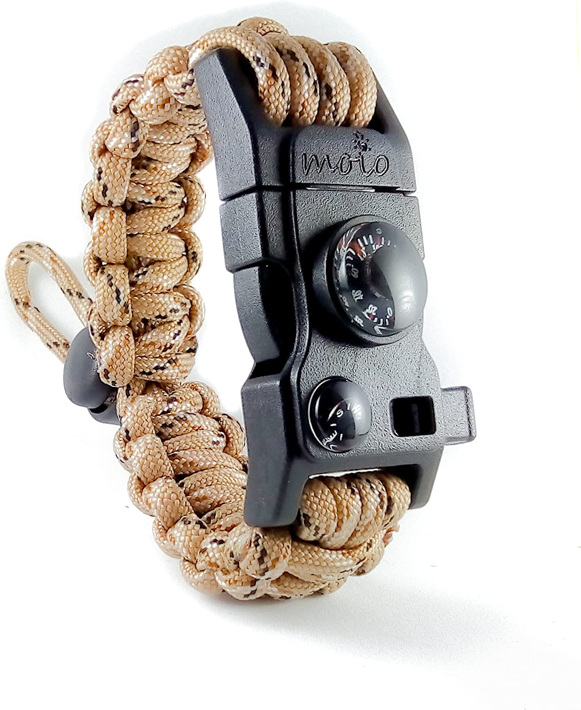 Multi Paracord Survival Bracelet Compass//Whistle Fire Starter Camouflage
