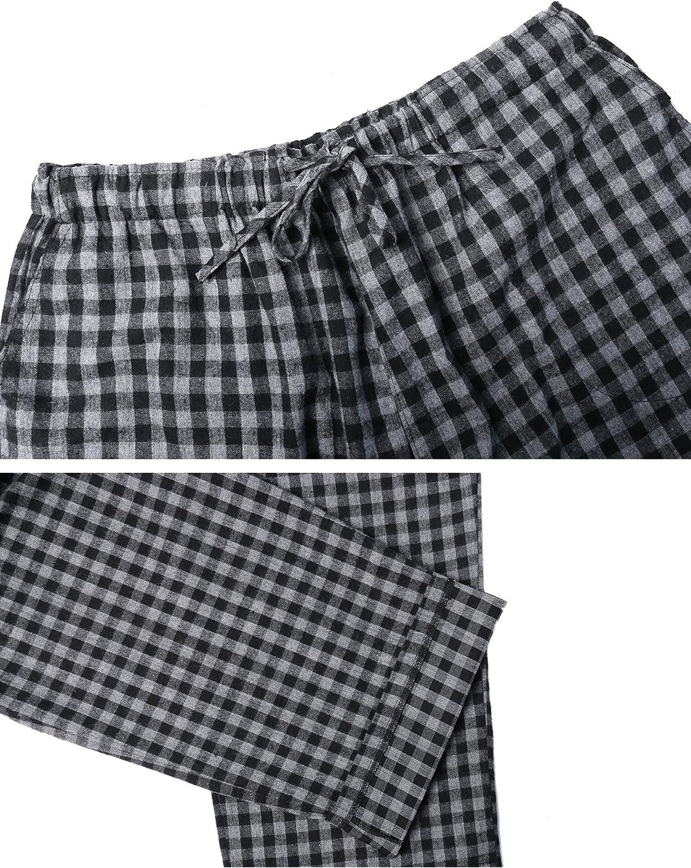 Aibrou Pantalones de Pijama Hombre de Cuadros de Forro Polar de 100/% Algod/ón