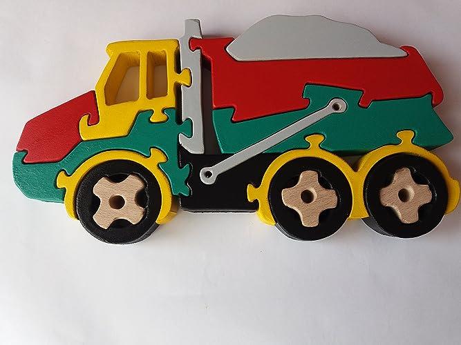 Carro de rompecabezas de madera camión de volquete hecho a mano camión volquete máquina masiva regalo