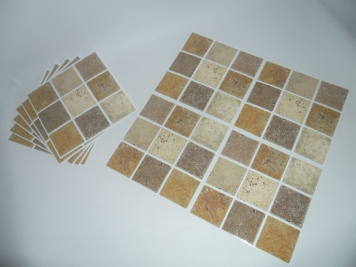 Mosaic Tile Transfers Stickers Brown Beige Stone Effect. Quickly Transform  Your Bathroom Or Kitchen Wall Tiles, Self Adhesive, Quick And Mess Free: ... Part 89