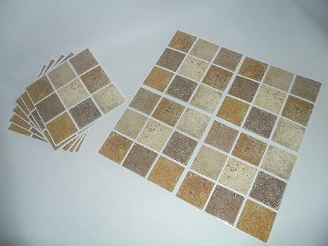 Tile makeover tessere mosaico adesive effetto pietra marrone