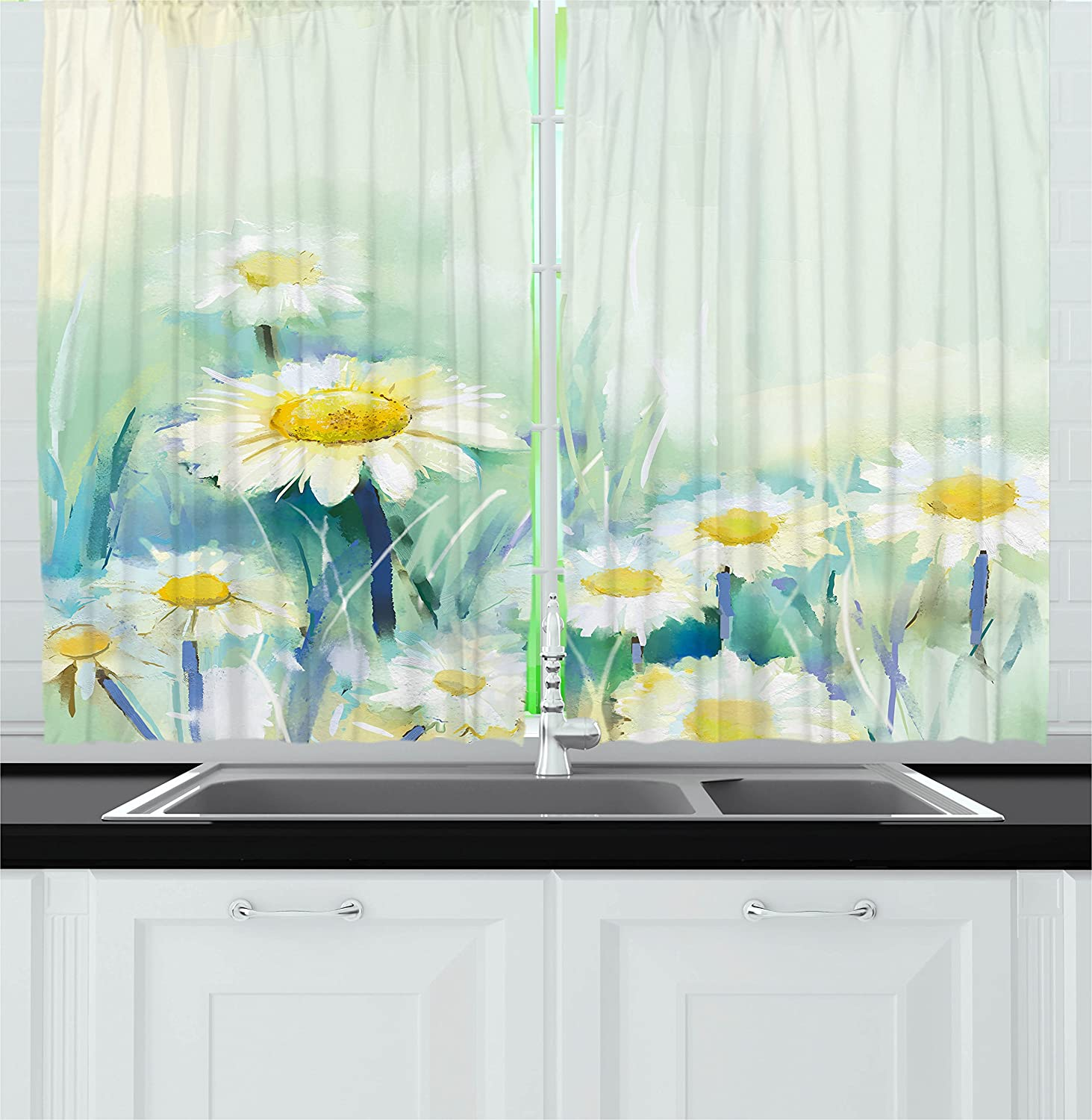 Ambesonne Watercolor Flower Home Decor Kitchen Curtains, Daisies on Grass Mother Earth Icons Impressionist Print, Window Drapes 2 Panels Set for Kitchen Cafe, 55 W X 39 L inches, Light Blue White