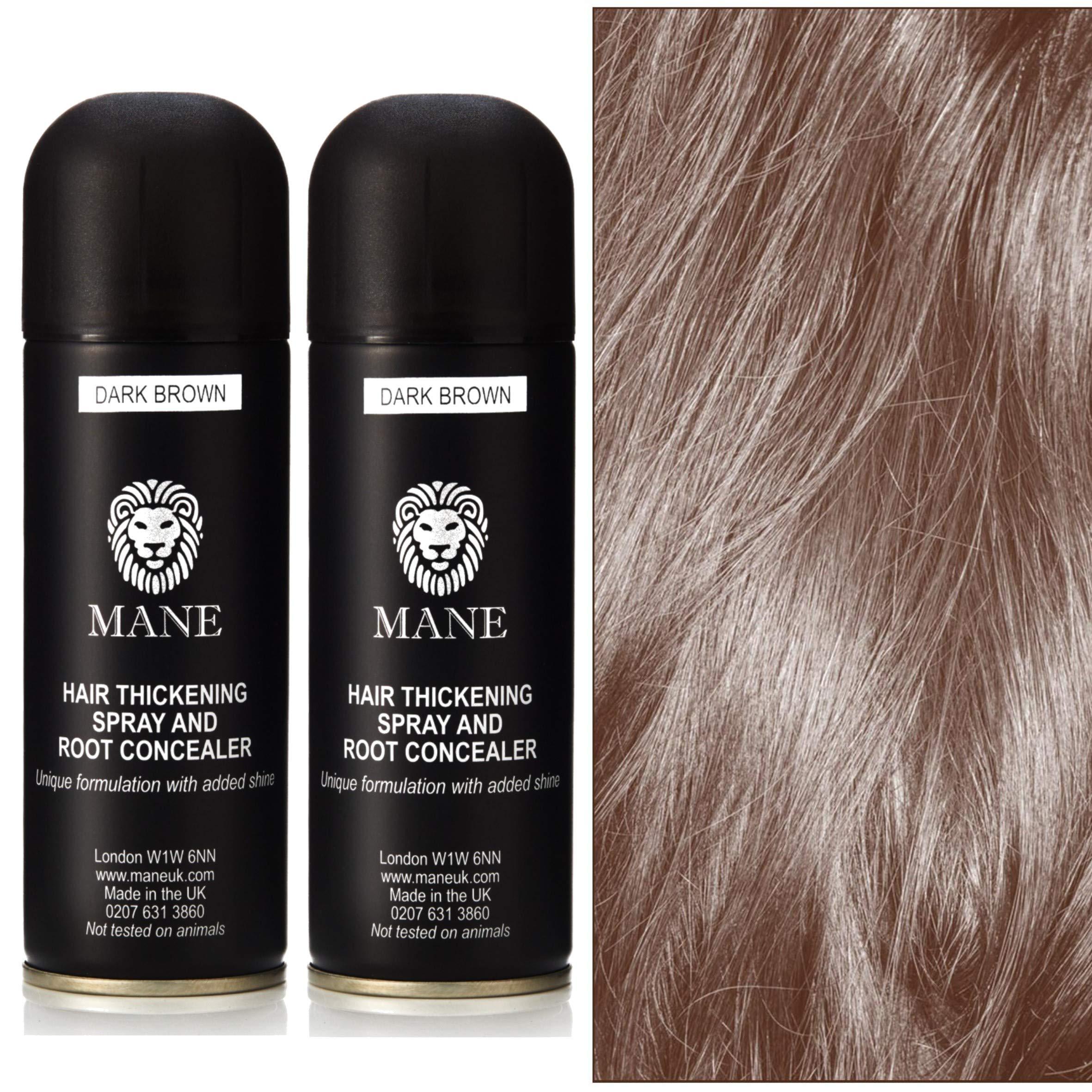 Mane Coloured Hair Thickening Spray Dark Brown 200ml x 2 aerosols