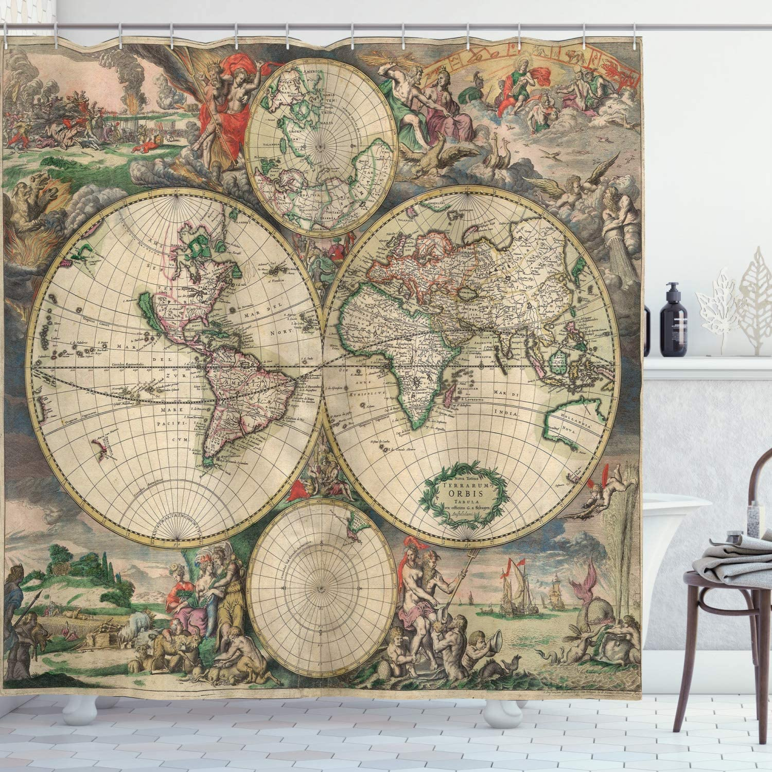 Ambesonne World Map Shower Curtain, Antique Design with Renaissance Continents and Hemispheres Vintage Art, Cloth Fabric Bathroom Decor Set with Hooks, 70